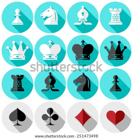 chess pieces. suits of playing cards. flat design in color - stock vector