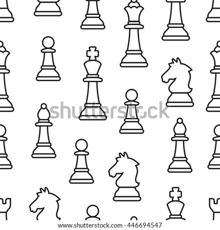 Chess Pieces Vector Seamless pattern.