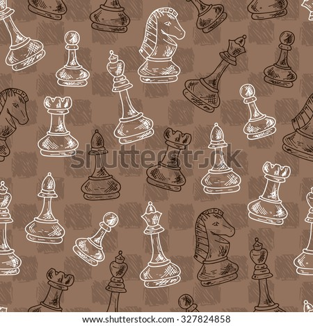 Chess Pieces Vector Seamless pattern. Black and white chess pieces. Hand drawn doodle king, queen, bishop, knight, rook, pawn and chess board, chess clock. - stock vector