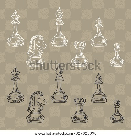 Chess Pieces Vector Set. Black and white chess pieces. Hand drawn doodle king, queen, bishop, knight, rook, pawn. - stock vector