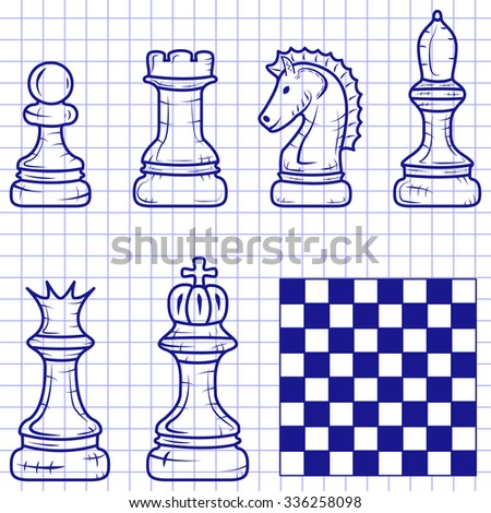 chess pieces with a chessboard isolated on a notebook sheet. Doodle
