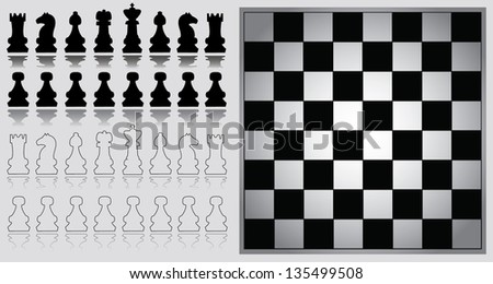 Chess pieces with chessboard - stock vector
