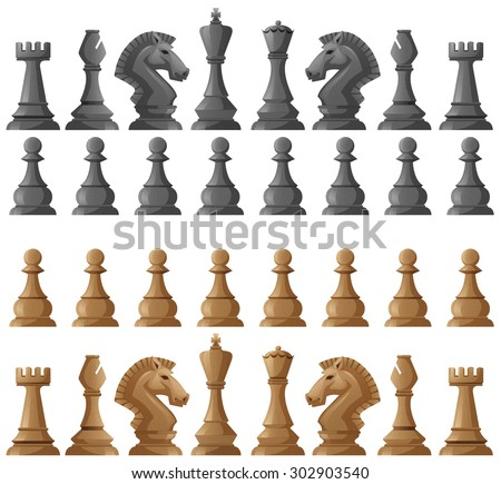Chess set pieces on white illustration - stock vector