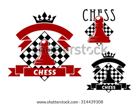 Chess sporting game icons with red and black pawns, turned by chessboards on background. Decorated by ribbon banners with crowns - stock vector