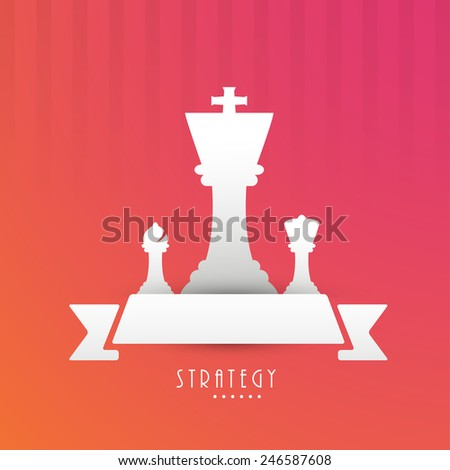 Chess strategy with figures king, bishop, queen and a blank ribbon for text on stylish red background. - stock vector