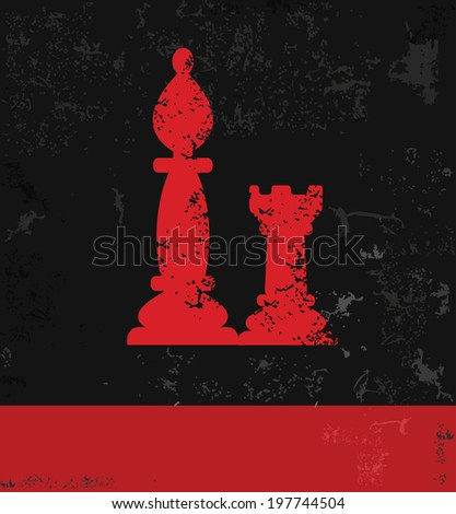 Chess symbol,grunge vector - stock vector