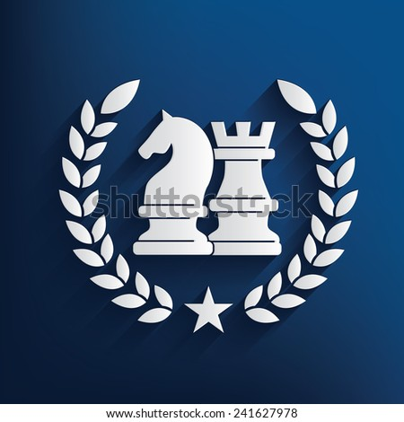 Chess symbol on blue background,clean vector - stock vector