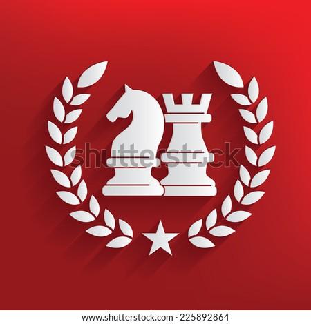 Chess symbol on red background,clean vector - stock vector