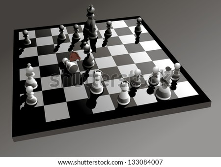 chessboard illustration with figures