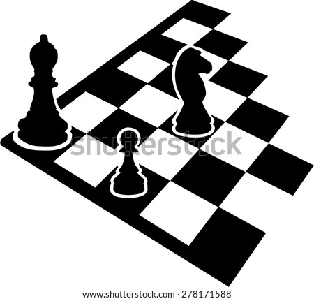 Chessboard with chess icons - stock vector