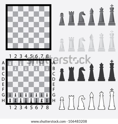 Chessboard with set of black and white chess pieces. - stock vector