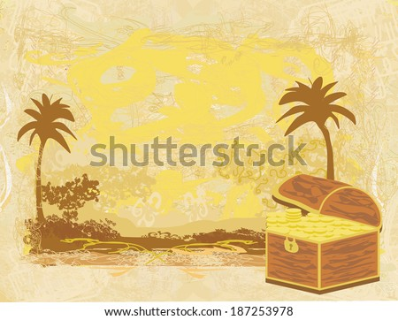 chest full of gold on abstract old paper - stock vector