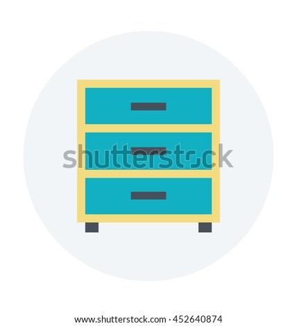 Chest of Drawer Colored Vector Icon