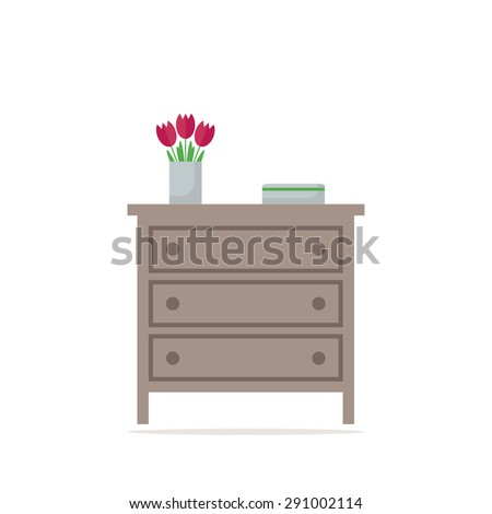 Chest of drawer icon. Isolated element on white background. Contemporary furniture for bedroom or living room. Flat style vector illustration.  - stock vector