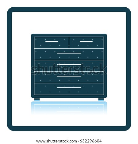 Chest of drawers icon. Shadow reflection design. Vector illustration.