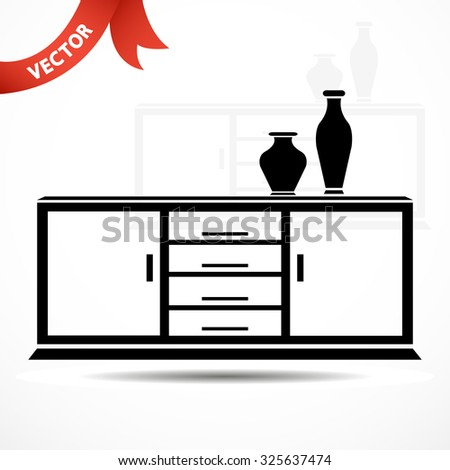 chest of drawers with vases. vector illustration - stock vector