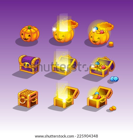 Chest set for game interface - stock vector
