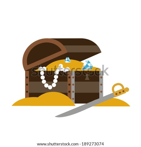 Chest with treasures and sword - stock vector