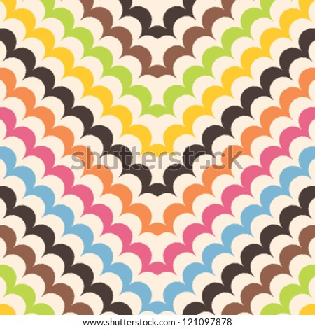 Chevron scales pattern, seamless scallop background - stock vector