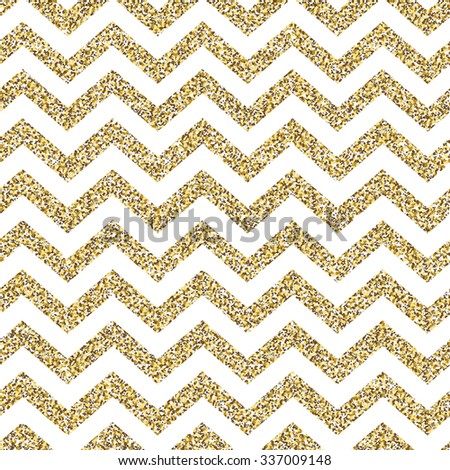 Chevron seamless pattern. Glittering golden surface - stock vector