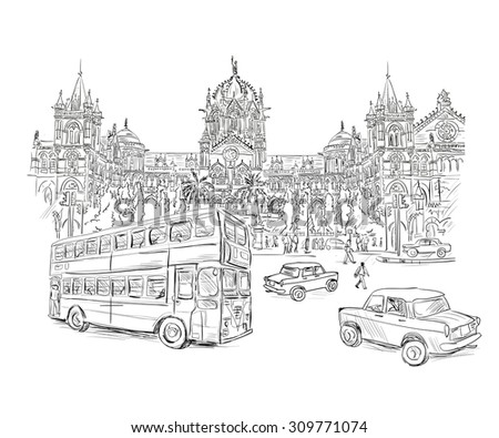Chhatrapati Shivaji Terminus Victoria Terminus. An historic railway station in Mumbai, Maharashtra, India, with a double decker bus and a taxi in the foreground. Vector illustration