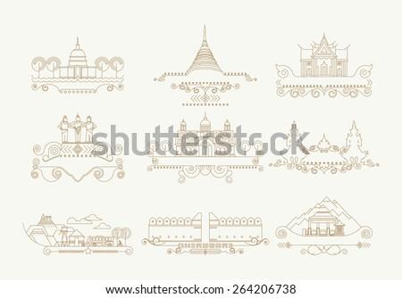 Chiang Mai Thailand building line icon  set, Vector decorative design thai elements, Ornament design anddecoration, Building icons set line vector illustration eps 10 - stock vector