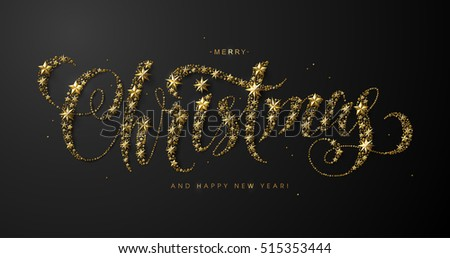 "Chic and Luxury Calligraphic ""Merry Christmas"" Inscription made of Gold Stars and Beads on Black Background."