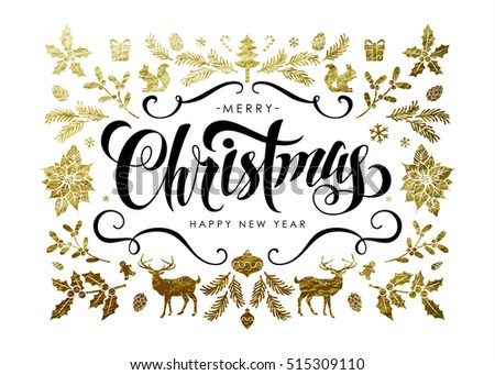 "Chic and Luxury Christmas Postcard with Gold Decoration and Handwritten Calligraphic ""Christmas"" Inscription."