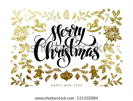 "Chic and Luxury Christmas Postcard with Gold Decoration and Handwritten Calligraphic ""Merry Christmas"" Inscription."