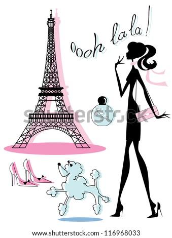 chic french fashion icons stock vector hd royalty free 116968033 rh shutterstock com Parisian Girl Clip Art Transparent Mona Lisa Painting Clip Art