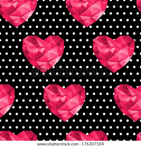 Chic vector seamless patterns (tiling). Polka dots black background. Polygonal hearts. For printing onto fabric, paper or scrap booking. Valentine`s day background. Polygonal hearts. - stock vector