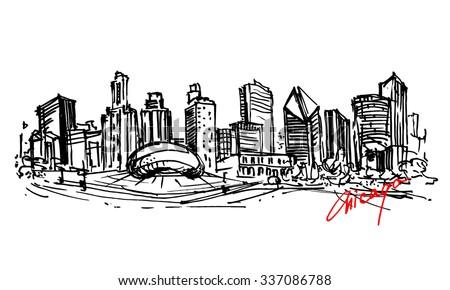 Chicago  city. Hand drawn illustration. - stock vector