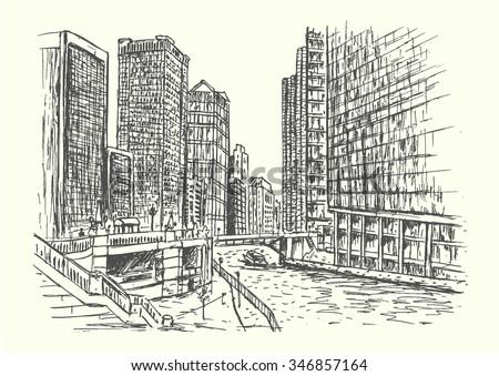 Chicago city scene hand drawn isolated illustration - stock vector