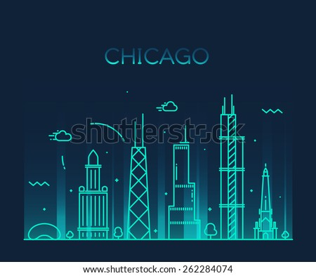 Chicago City skyline detailed silhouette. Trendy vector illustration, line art style. - stock vector