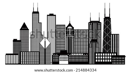 Chicago City Skyline Panorama Black Outline Silhouette Isolated on White Background Vector Illustration - stock vector
