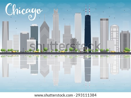 Chicago city skyline with grey skyscrapers and reflections. Vector illustration. Business travel and tourism concept. Image for presentation, banner, placard and web site