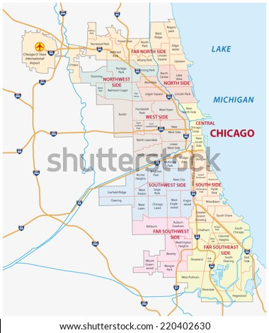 chicago community map - stock vector