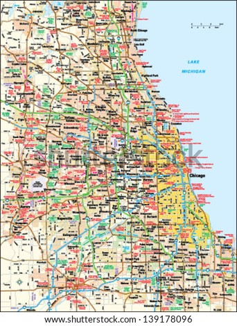 Chicago Illinois Area Map Stock Vector (Royalty Free) 139178096 ...