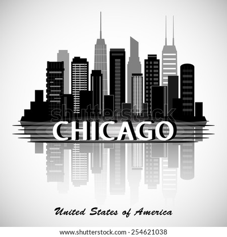Chicago Illinois city skyline silhouette. Typographic Design - stock vector