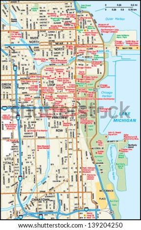 Chicago, Illinois downtown map - stock vector