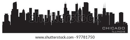 Chicago, Illinois skyline. Detailed vector silhouette - stock vector