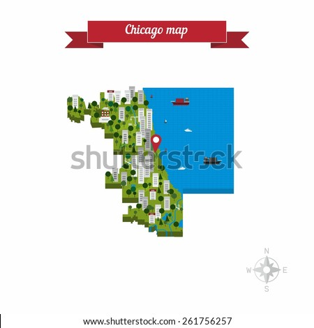 Chicago Illinois United States Of America Cartoon Isolated Closeup Map Flat Style Design