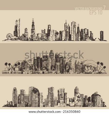Chicago, Los Angeles, Houston big city architecture, vintage engraved illustration, hand drawn, sketch - stock vector