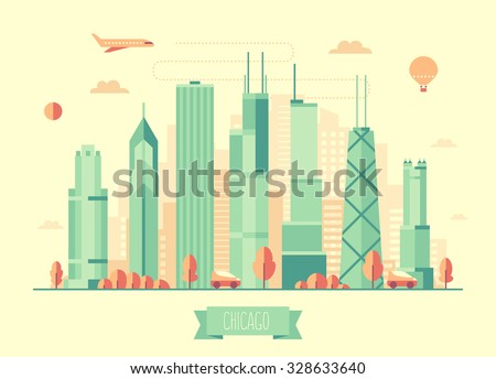 Chicago skyline architecture, vector illustration with plane, cars and air balloon, flat design - stock vector