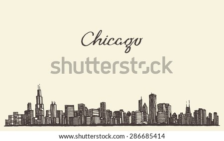 Chicago skyline, big city, architecture, engraving vector illustration, hand drawn - stock vector