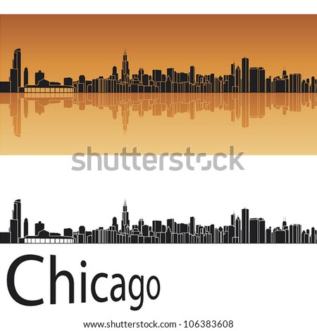 Chicago skyline in orange background in editable vector file - stock vector
