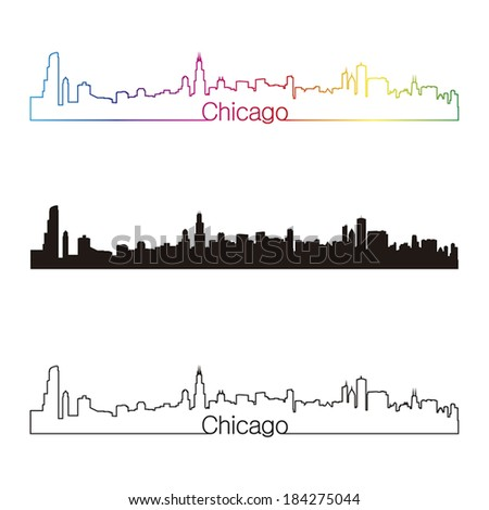 Chicago skyline linear style with rainbow in editable vector file - stock vector