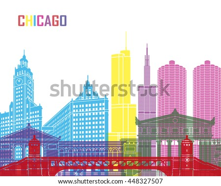 Chicago skyline pop in editable vector file