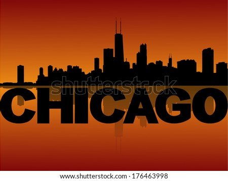 Chicago skyline reflected at sunset vector illustration - stock vector