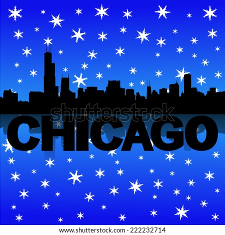 Chicago skyline reflected with snow vector illustration - stock vector